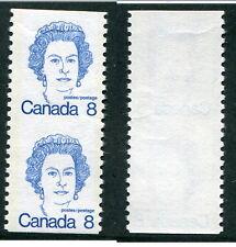 MNH Canada 8 Cent Queen Elizabeth Coil Pair no Scoreline #604vi (Lot #9406)