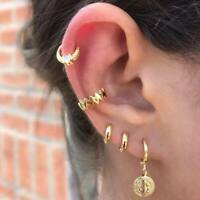 5PCS/Set Women Ear Stud Earrings Gold Crystal Jesus Punk Cuff Ear Jewelry Gift