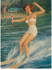 """Pin-Up Skiing Oil on board Original Signed Art by William Medcalf 41""""x30"""""""