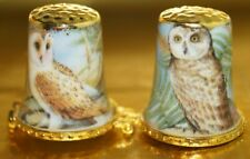 THIMBLE CASE - GOLD TOP AND RIM - OWL