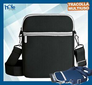 Tracolla Uomo Borsello a Borsa da Viaggio porta Cellulare Tablet Nera Blu spalla