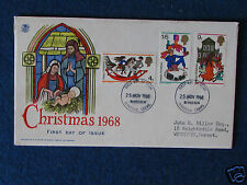 First Day Cover - Christmas 1968 - Double Stamped - 25/11/68 Bethlehem,Carms