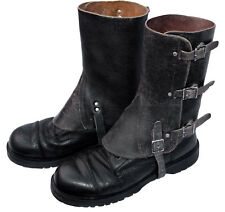 Black Leather Army Gaiters 1950/70s Boot Shoe Spats Spatterdashes Spatter Guards