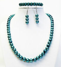 8mm Dark Teal Green Glass Pearl Necklace Bracelet & Earrings Set (Silver Plated)