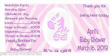 Baby Shower Water Bottle Labels Zebra Girl Gloss Waterproof 30 Qty.