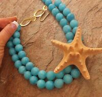 REAL STARFISH PENDANT GENUINE JADE LG OCEAN NECKLACE JEWELRY turquoise aqua blue