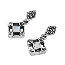 Marcasite Drop Stud Earrings Sterling Silver 925 Jewelry Gift Mother for Pearl