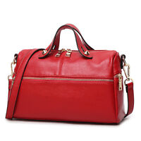 2017 Genuine Leather Boston Women Satchel Handbag Tote Purse Shoulder Pillow Bag