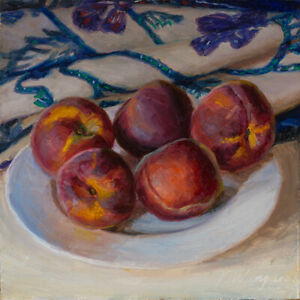 Original oil painting a day still life  realism peaches 10x8 inch Youqing Wang