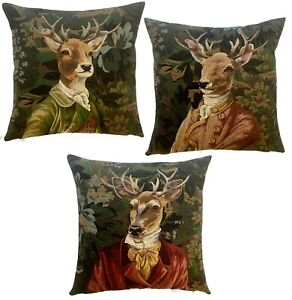 SET OF 3 VERDURE ATHROPOMORPHIC STAG BELGIAN TAPESTRY CUSHION COVERS WITH ZIP