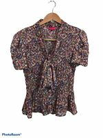 Sunny Leigh Short Sleeve Floral Tie Neck Button Up Blouse Top Large Polyester