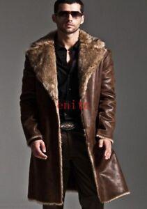 Men's Chic  Fur Leather Coat Single-Breasted Jacket Lapel Long Length Parka2