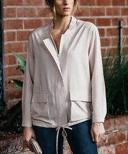 Drawstring Zip Up Top Size UK 16 Ladies Beige Lightweight Long Sleeve NEW #B-320