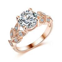 Beautiful Wedding Crystal Zircon Leaf Ring Women Girl  Elegant Romantic RingLAG