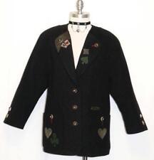 """SALZBURGER WOOL BLACK SWEATER Austria Women WINTER Poker Cardigan Jacket B44"""" L"""