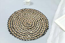 60 cm Natural Round Braided Jute Soft Indian Rug Living Room Mat Carpet Black