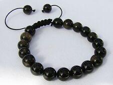 Para hombres Pulsera De Piedra Preciosa Negro todos los granos de oro 10mm Obsidiana