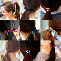 Women Bow Knot Tie Hair Band Flower Elastic Rope Ring Hairband Ponytail Holder