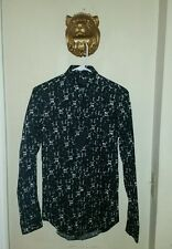 $455.00 Calvin Klein Collection Black Abstract Print Slim Fit Dress Shirt  Small