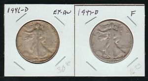 1946-D and 1947-D Walking Liberty Half Dollar, Circulated