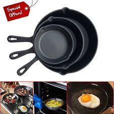 Pre Seasoned Cast Iron Non- Stick Skillet Set Grill Round Fry Pan 3 Piece Black