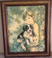 """C. Mitchell Boy Holding Dog  23"""" X 20"""" Boy With Dog Reproduction Picture"""