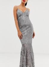 Club L Swirl Detail Sequin Maxi Dress Silver Grey BNWT Size UK 10