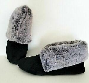 CHARTER CLUB Plush faux-fur trim bootie slippers with Memory Foam -BLACK