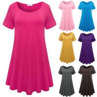 Womens Summer Short Sleeve Swing T Shirt Loose Plus Size Tunic Solid Tops Blouse