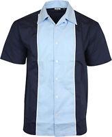 Relco Mens Blue & Navy Bowling Shirt Rockabilly Retro 50s Club Swing Lounge