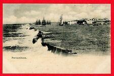 1907 Unused Postcard Pernambuco, BRAZIL,   Terrific Photo w/ Mast Ships~