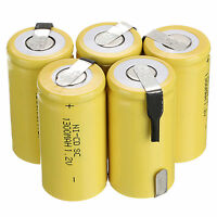 Power 5 St. 1.2V 1300mAh Sub C SC Ni-Cd NiCd Wiederaufladbare Batterie Gelb Akku
