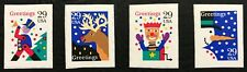 1993 Scott #2799-2802, 29¢, CHRISTMAS DESIGNS - IMPERF - MNH - 4 Booklet Singles