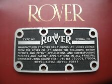THIS IS A REAR OPPORTUNITY TO OWN A NOS ROVER GAS TURBINES BLANK CHASSIS PLATE