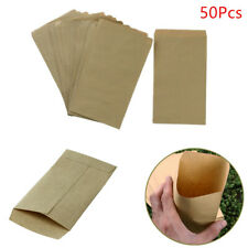 50 Kraft Paper Gift Bags Brown Packet Envelope Storage Pouch for Crop Rice Plant