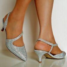 Sale Ladies Diamante Party Evening Sling Back Low Kitten Heel Court Shoe Size