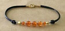 Cord, Golden Plated, Friendship Bracelet Orange Amber Copal, Black L 00006000 eather