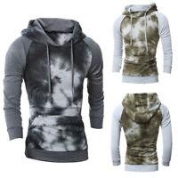 ❤️ Mens Casual Tie Dye Hoodie Hooded Pullover Long Sleeve Sweatshirt Pocket Tops