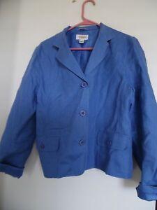 Talbots Women Blue Blazer 100% Linen Jacket Size 10