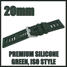 • • 20mm Green, Diver, ISO Style, Silicone Rubber, High Quality Watch Strap • •
