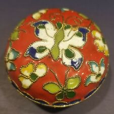 Vintage Round Cloisonne Box, Red & Brass, Butterflies & Flowers, Base Lid, Euc