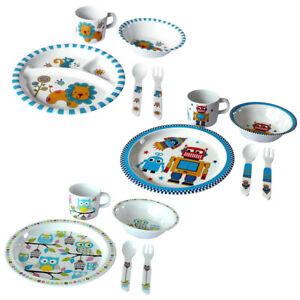 Kinder Geschirr Besteck  Set 5 teilig Teller Becher Schale Löffel Gabel