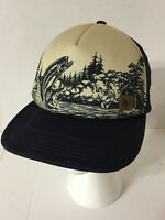 Mens Hat Vtg Fishing Foam Mesh Baseball Tree Brand Snapback Trucker Dad Cap Blue