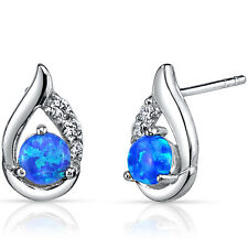 0.75 carat Created Blue Opal Earrings Sterling Silver Round Cabochon