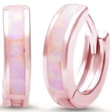 Rosegold Plated Pink Opal .925 Sterling Silver Hoop Huggie Earrings