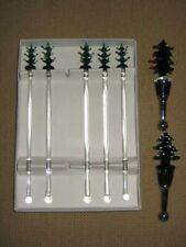 Set 5 VTG Art Glass Christmas SWIZZLE STICKS & 2 WINE BOTTLE STOPPERS XMAS TREE