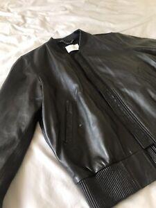 Sandro Mens Lambs Leather Dark grey/Black Bomber Jacket £749 L APC AMI NWT