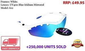 RayZor White Sports Wrap Sunglasses Uv400 Vented Blue Mirrored Lens (612)