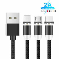 1-2M 3in1 360° Round Magnetic LED Type C iOS Micro USB 2A Charger Charging Cable