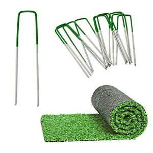 Artificial Grass Pins (Green) Galvanised Metal U Pegs Membrane Fabric Staple